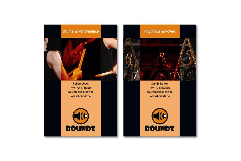 Visitenkarte für Trommelperformance Boundz gestaltet von stefanie lombert : grafikdesign Hannover