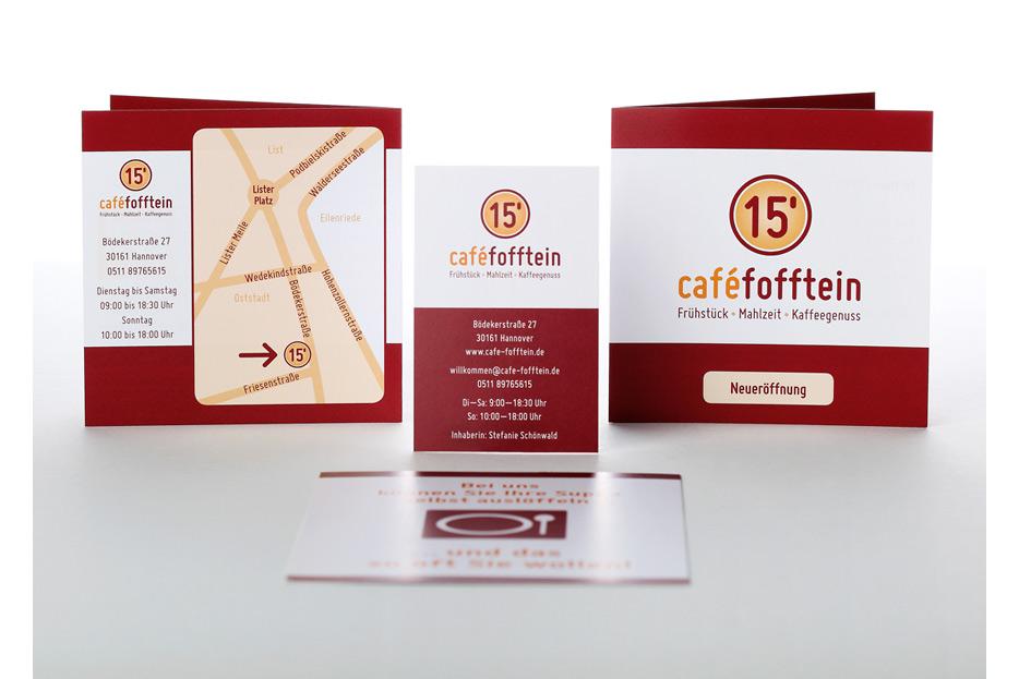 Eröffnungsfolder, Visitenkarte und Aktionsflyer für café fofftein in der Oststadt Hannover gestaltet von stefanie lombert : grafikdesign Hannover