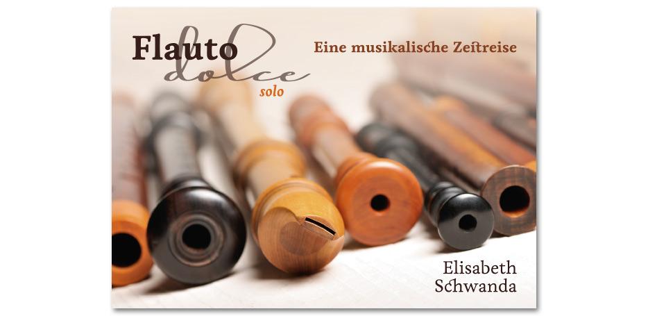 """Werbeflyer zur CD """"Flauto dolce solo"""" von Blockflötistin Elisabeth Schwanda gestaltet von stefanie lombert : grafikdesign Hannover"""