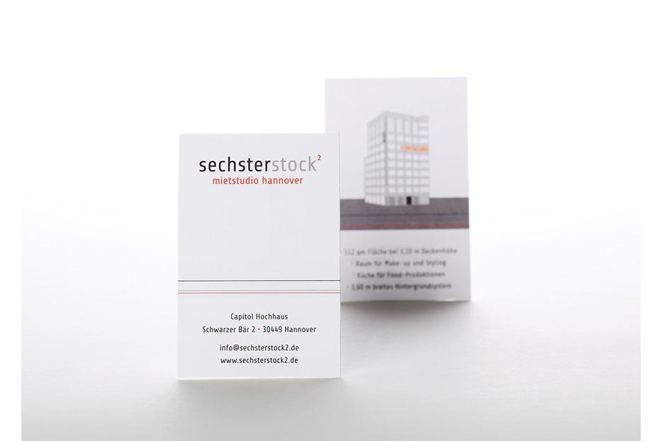Visitenkarte für sechsterstock2 Fotostudio Capitol Hochhaus gestaltet von stefanie lombert : grafikdesign Hannover
