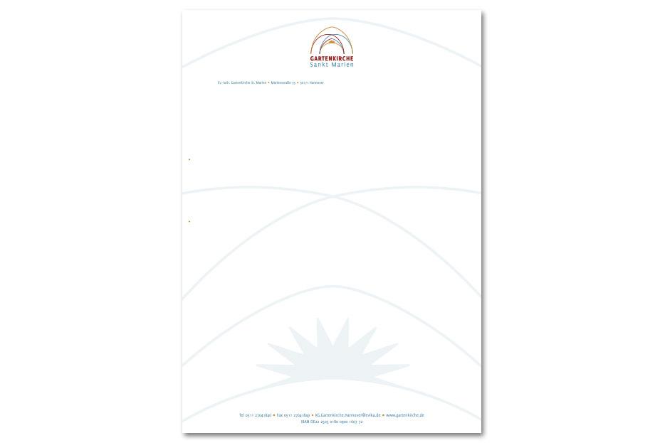 Vorderseite Briefbogen der Gartenkirche St. Marien in Hannover gestaltet von stefanie lombert : grafikdesign
