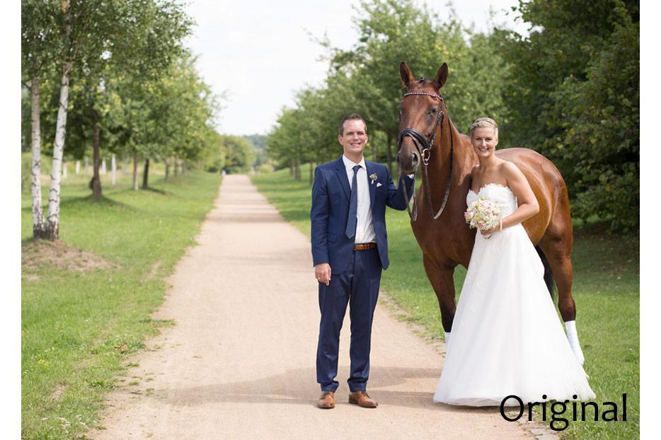 Bildretuschen und -montagen für ein das Hochzeitsfoto des Ehepaars Sonntag - vorher