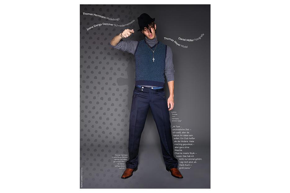 Anzeigenserie für Männermode von Designer Thomas Herrmann gestaltet von stefanie lombert : grafikdesign Hannover