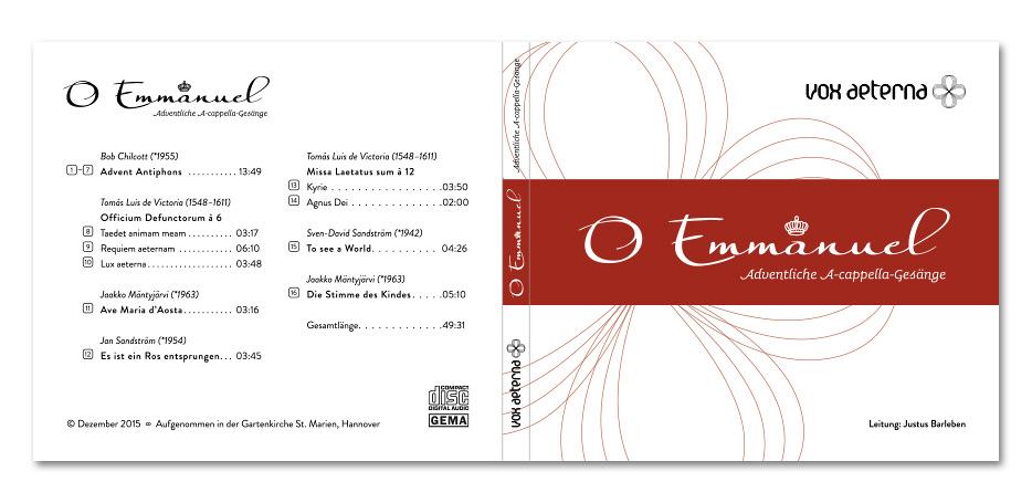 "CD-Hülle ""O Emmanuel"" des Vokalensembles vox aeterna gestaltet von stefanie lombert : grafikdesign Hannover"