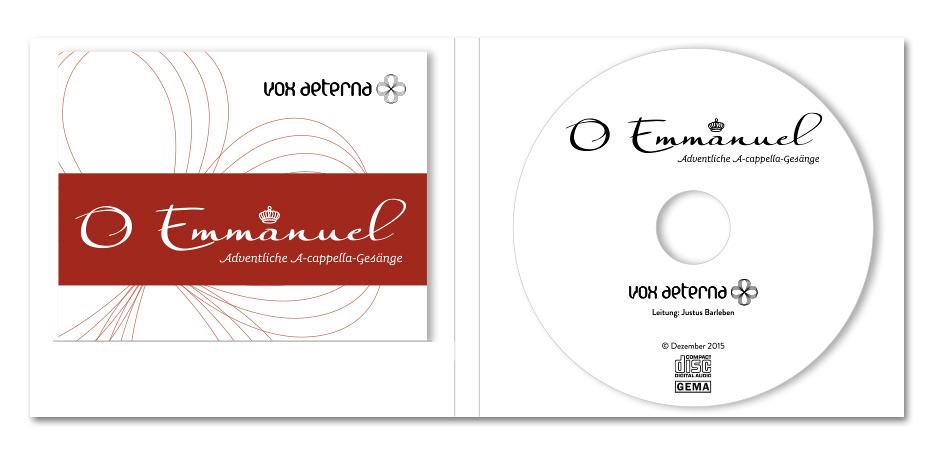 "CD-Hülle, Booklet und CD-Label ""O Emmanuel"" des Vokalensembles vox aeterna gestaltet von stefanie lombert : grafikdesign Hannover"