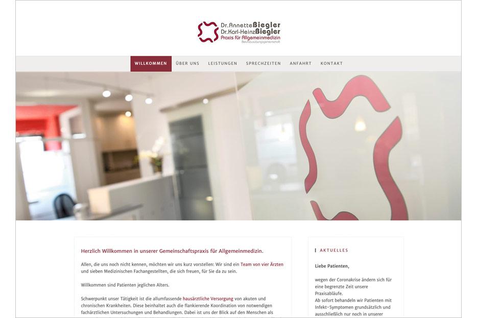 Startseite des Internetauftritts der Arztpraxis Dr. Biegler aus Hemmingen/Ortsteil Arnum gestaltet von stefanie lombert : grafikdesign Hannover