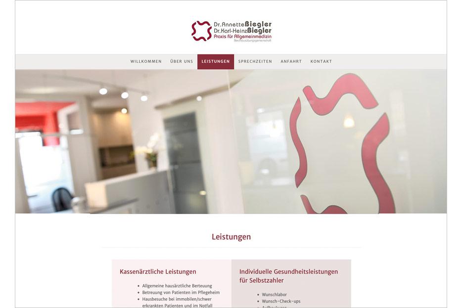 """Unterseite """"Leistungen"""" des Internetauftritts der Arztpraxis Dr. Biegler aus Hemmingen/Ortsteil Arnum gestaltet von stefanie lombert : grafikdesign Hannover"""