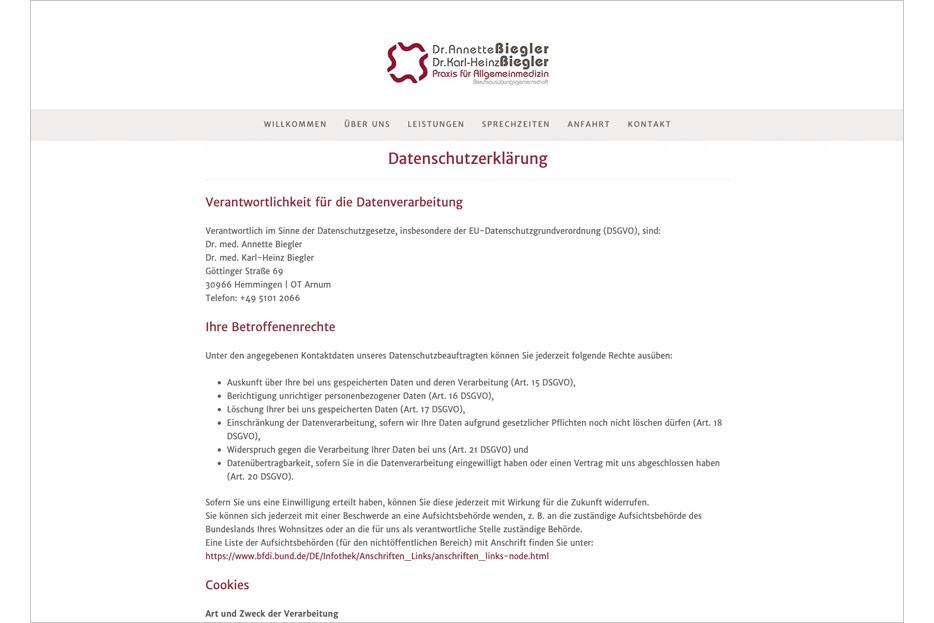 """Unterseite """"Datenschutzerklärung"""" des Internetauftritts der Arztpraxis Dr. Biegler aus Hemmingen/Ortsteil Arnum gestaltet von stefanie lombert : grafikdesign Hannover"""