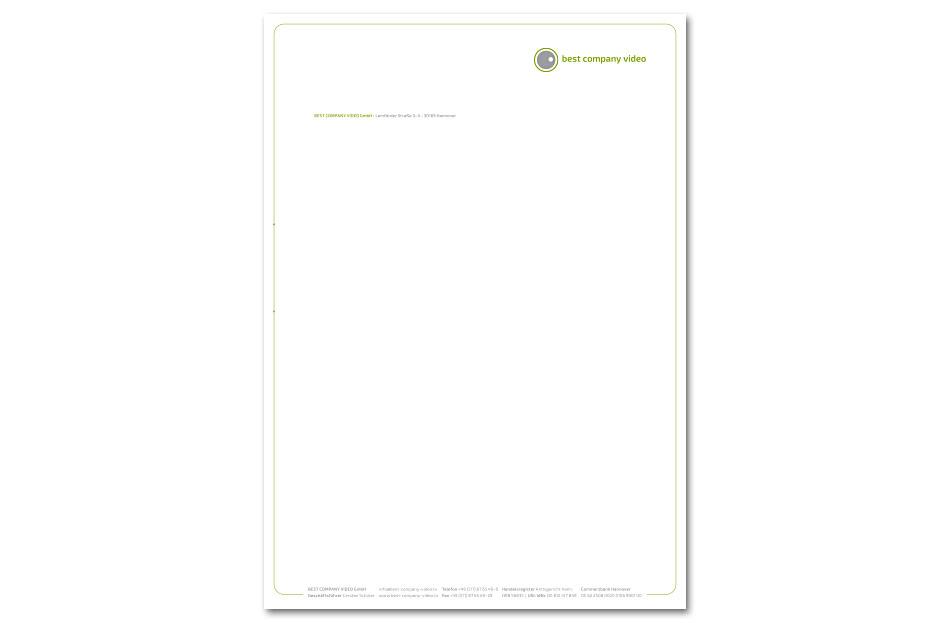 Briefbogen von Best Company Video, gestaltet von stefanie lombert : grafikdesign aus Hannover