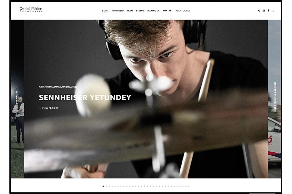 Starseite des Internetauftritts von Daniel Möller Fotografie, gestaltet von stefanie lombert : grafikdesign
