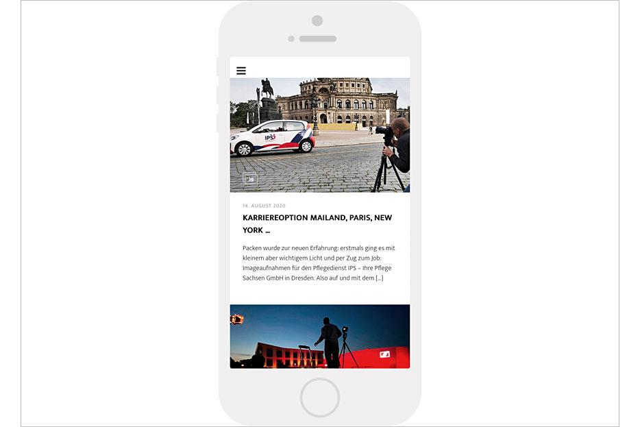 """mobile Unterseite """"Making of"""" des Internetauftritts von Daniel Möller Fotografie, gestaltet von stefanie lombert : grafikdesign"""