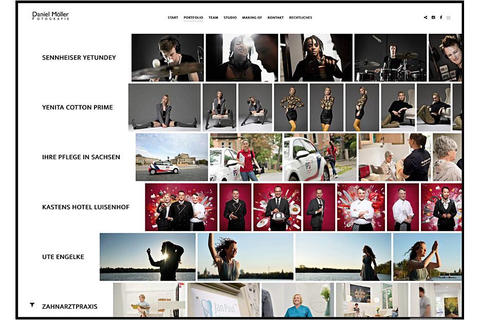 """Unterseite """"Portfolio"""" des Internetauftritts von Daniel Möller Fotografie, gestaltet von stefanie lombert : grafikdesign"""