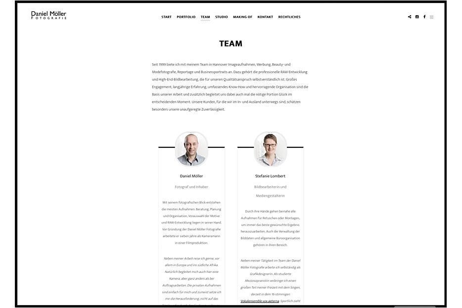 """Unterseite """"Team"""" des Internetauftritts von Daniel Möller Fotografie, gestaltet von stefanie lombert : grafikdesign"""