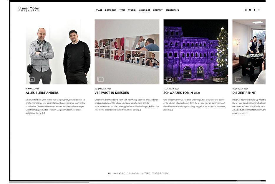 """Unterseite """"Making of"""" des Internetauftritts von Daniel Möller Fotografie, gestaltet von stefanie lombert : grafikdesign"""