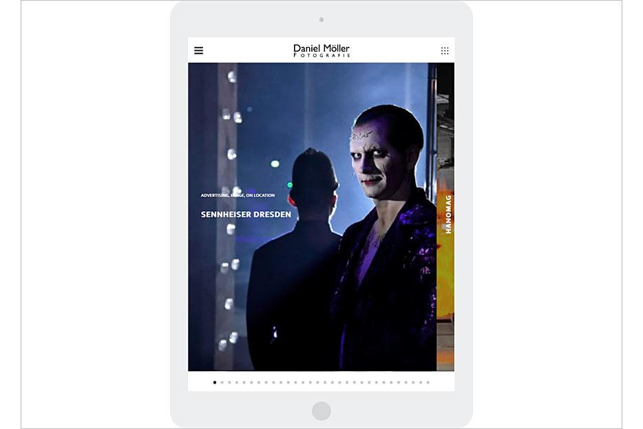 Starseite in Tablet-Ansicht des Internetauftritts von Daniel Möller Fotografie, gestaltet von stefanie lombert : grafikdesign