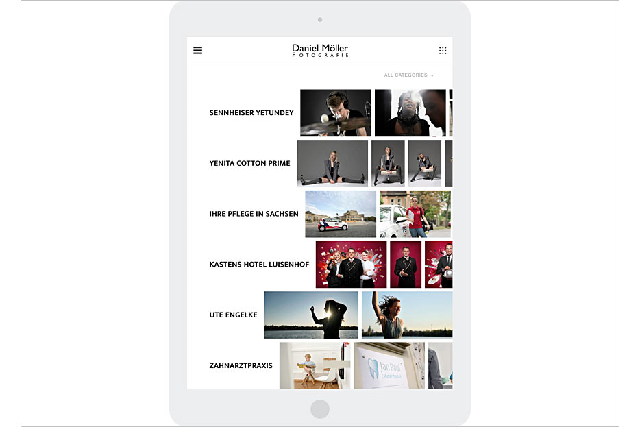"""Unterseite """"Portfolio"""" in Tablet-Ansicht des Internetauftritts von Daniel Möller Fotografie, gestaltet von stefanie lombert : grafikdesign"""