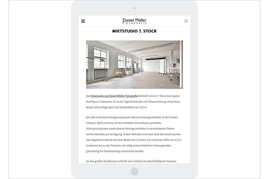 """Unterseite """"Studio"""" in Tablet-Ansicht des Internetauftritts von Daniel Möller Fotografie, gestaltet von stefanie lombert : grafikdesign"""