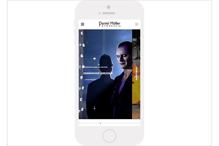 mobile Startseite des Internetauftritts von Daniel Möller Fotografie, gestaltet von stefanie lombert : grafikdesign