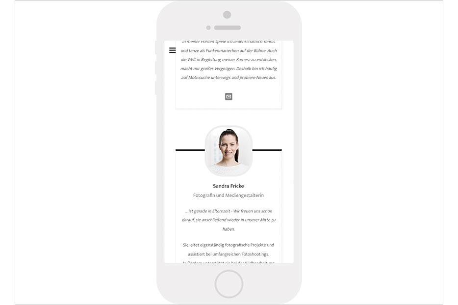 """mobile Unterseite """"Portfolio"""" des Internetauftritts von Daniel Möller Fotografie, gestaltet von stefanie lombert : grafikdesign"""