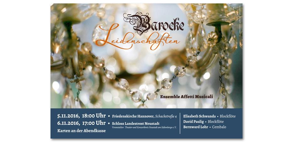 """Konzertplakat """"Baroque Passion"""" der Blockflötisten Elisabeth Schwanda und David Paulig sowie Cembalist Bernward Lohr gestaltet von stefanie lombert : grafikdesign Hannover"""
