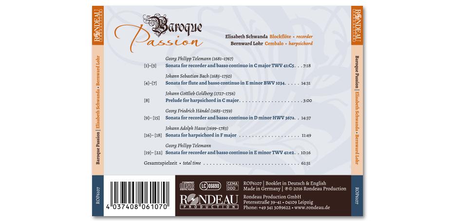 """CD-Inlaycard """"Baroque Passion"""" von Blockflötistin Elisabeth Schwanda und Cembalist Bernward Lohr gestaltet von stefanie lombert : grafikdesign Hannover"""