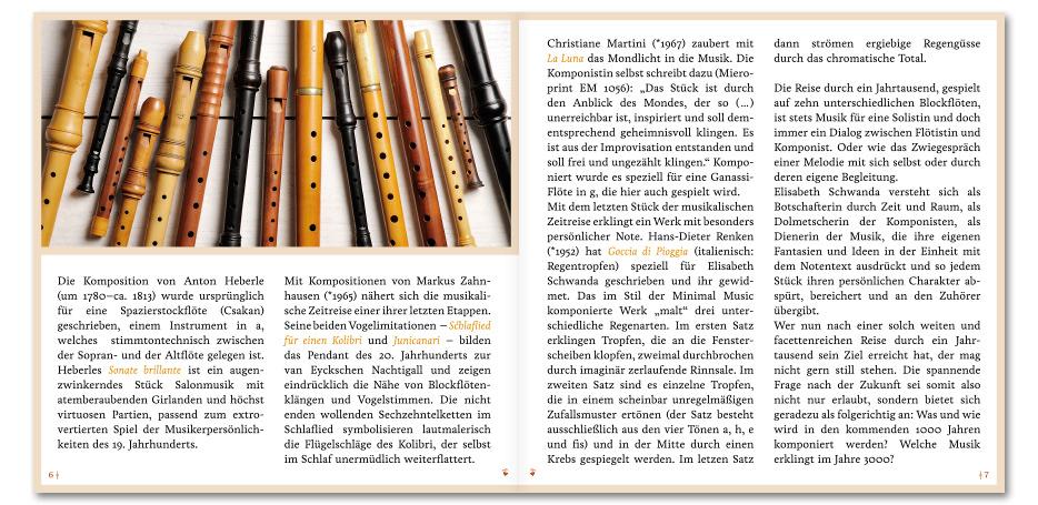 """CD-Booklet """"Flauto dolce solo"""" von Blockflötistin Elisabeth Schwanda gestaltet von stefanie lombert : grafikdesign Hannover"""