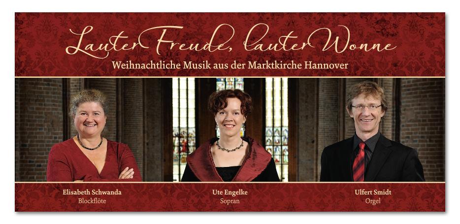 """Werbeflyer zur CD """"Lauter Freude, lauter Wonne"""" von Ute Engelke, Elisabeth Schwanda und Ulfert Smidt gestaltet von stefanie lombert : grafikdesign Hannover"""