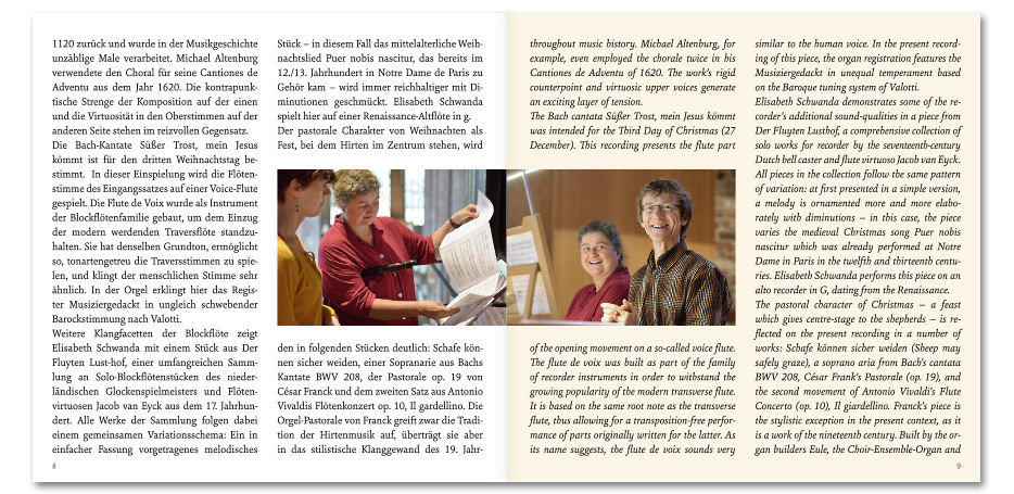 """CD-Booklet """"Lauter Freude, lauter Wonne"""" von Ute Engelke, Elisabeth Schwanda und Ulfert Smidt gestaltet von stefanie lombert : grafikdesign Hannover"""