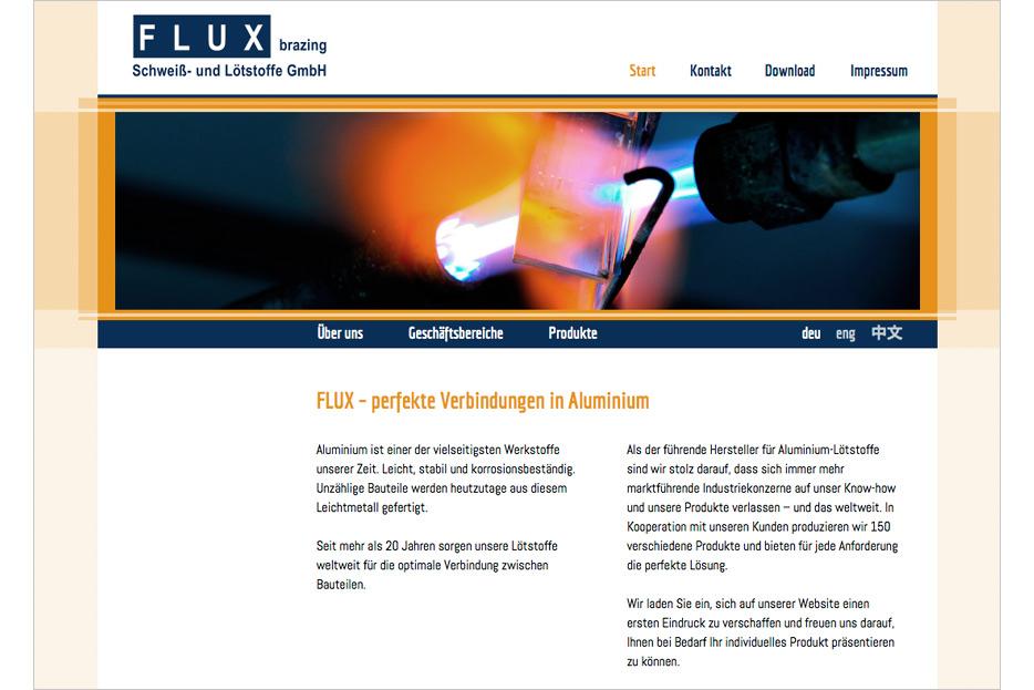 Ehemalige Website von Flux brazing Schweiß-und Lötstoffe GmbH in Garbsen gestaltet von stefanie lombert : grafikdesign Hannover