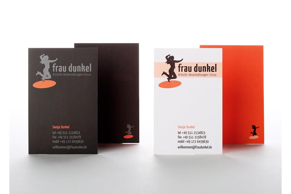 Visitenkarte für Veranstaltungsmanagerin, Artistin und Musikerin Svenja Dunkel gestaltet von stefanie lombert : grafikdesign Hannover