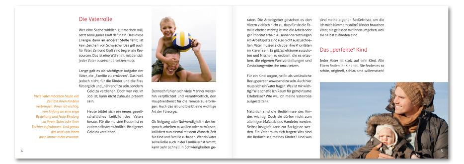 """Broschüre """"Vater sein"""" für die Männerarbeit der EKD gestaltet von stefanie lombert : grafikdesign Hannover"""