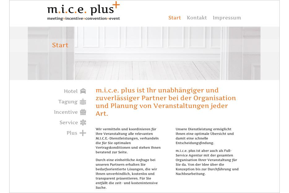 Website m.i.c.e. plus gestaltet von stefanie lombert : grafikdesign Hannover