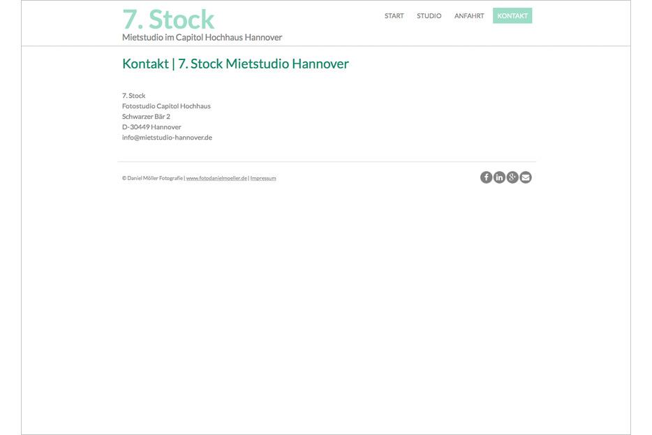 Website des Mietstudios 7. Stock im Capitol Hochhaus Hannover gestaltet von stefanie lombert : grafikdesign Hannover