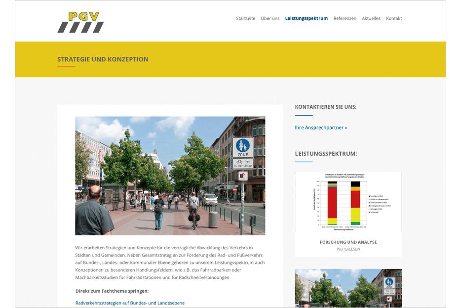 Website der Planungsgesellschaft Verkehr aus Hannover gestaltet von stefanie lombert : grafikdesign Hannover