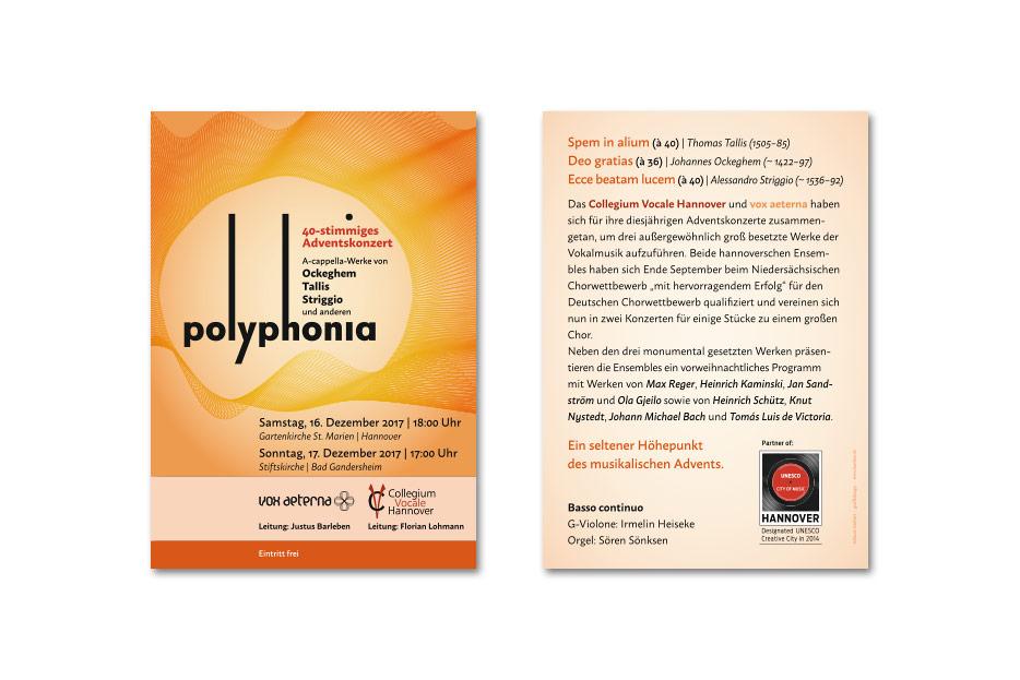 """Konzertflyer """"polyphonia"""" gestaltet von stefanie lombert : grafikdesign"""