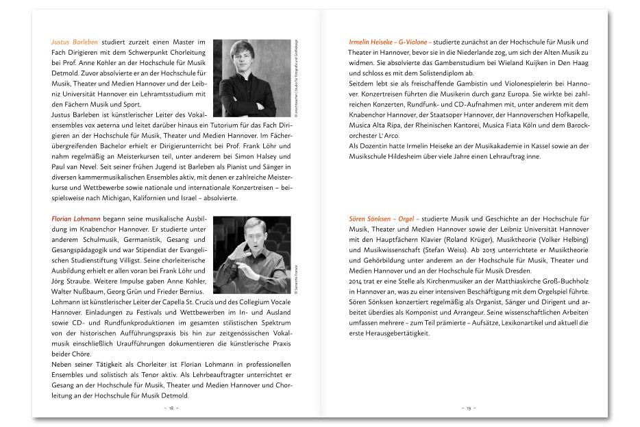 """Innenseite Konzertprogrammheft """"polyphonia"""" gestaltet von stefanie lombert : grafikdesign"""