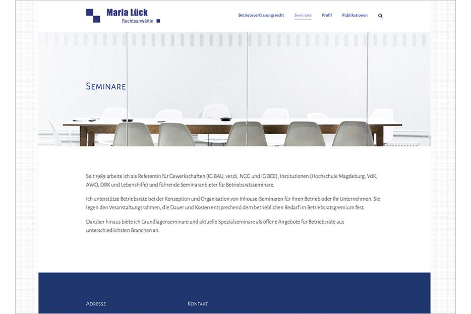 """Unterseite """"Seminare"""" der Website von Rechtsanwältin Maria Lück aus Hemmingen bei Hannover gestaltet von stefanie lombert : grafikdesign Hannover"""