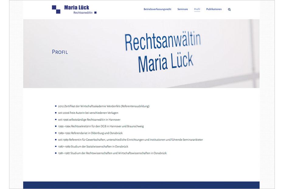 """Unterseite """"Profil"""" der Website von Rechtsanwältin Maria Lück aus Hemmingen bei Hannover gestaltet von stefanie lombert : grafikdesign Hannover"""