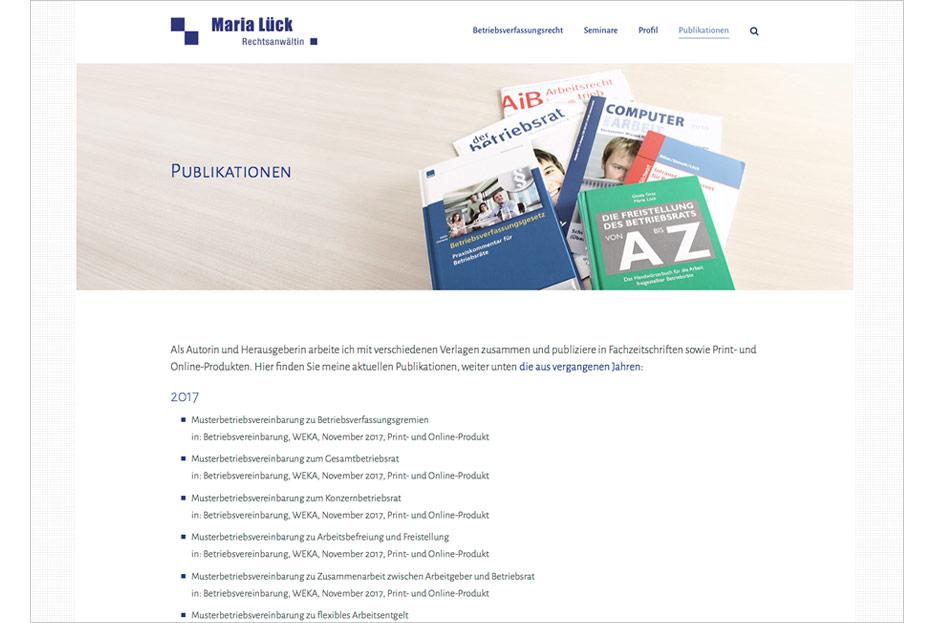 """Unterseite """"Publikationen"""" der Website von Rechtsanwältin Maria Lück aus Hemmingen bei Hannover gestaltet von stefanie lombert : grafikdesign Hannover"""