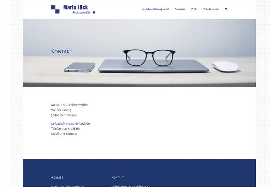 """Unterseite """"Kontakt"""" der Website von Rechtsanwältin Maria Lück aus Hemmingen bei Hannover gestaltet von stefanie lombert : grafikdesign Hannover"""