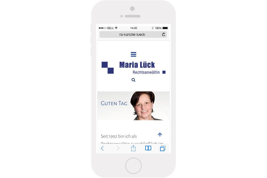 Mobile Startseite der Website von Rechtsanwältin Maria Lück aus Hemmingen bei Hannover gestaltet von stefanie lombert : grafikdesign Hannover