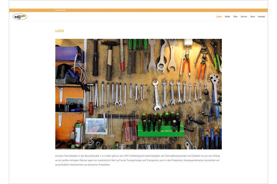"""Unterseite """"Laden"""" des Internetauftritts des Fahrradladens RRA UP! aus Hannover-Linden gestaltet von stefanie lombert : grafikdesign Hannover"""
