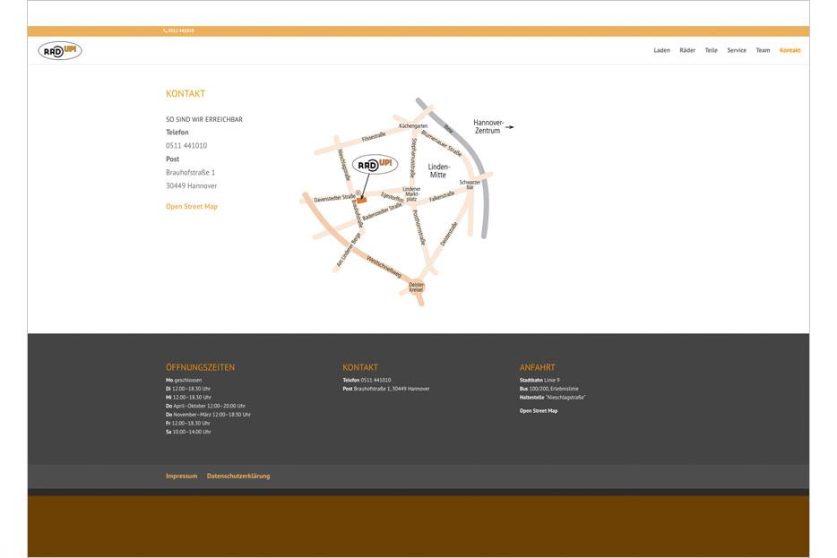 """Unterseite """"Kontakt"""" des Internetauftritts des Fahrradladens RRA UP! aus Hannover-Linden gestaltet von stefanie lombert : grafikdesign Hannover"""