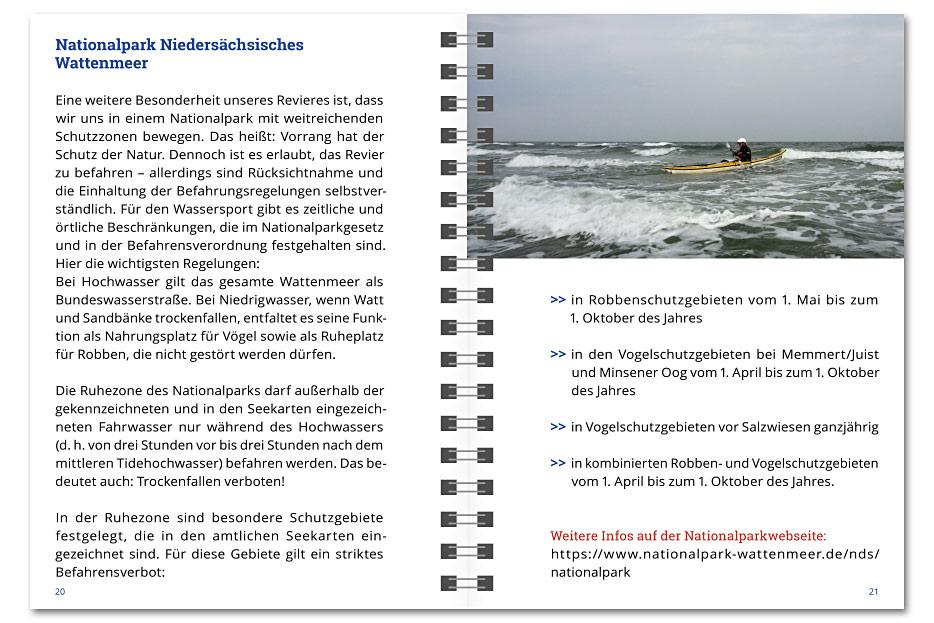 """Doppelseite des """"Revierführer Seekajak – Ostfriesland"""", ringgebundene Infobroschüre für Paddler"""