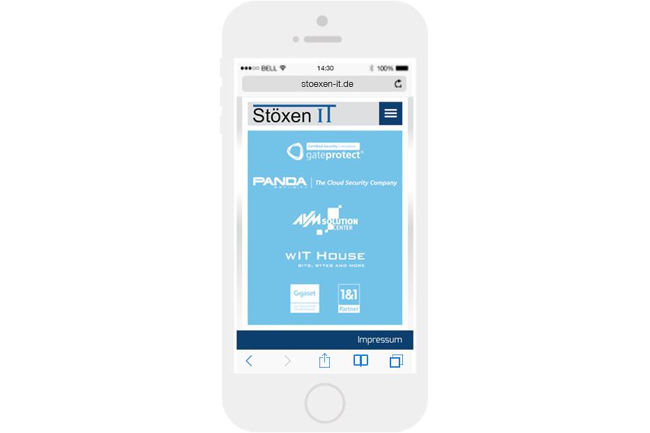 Mobile Ansicht der Website von IT-Beratung und -Service Stöxen IT mobile Ansicht gestaltet von stefanie lombert : grafikdesign Hannover
