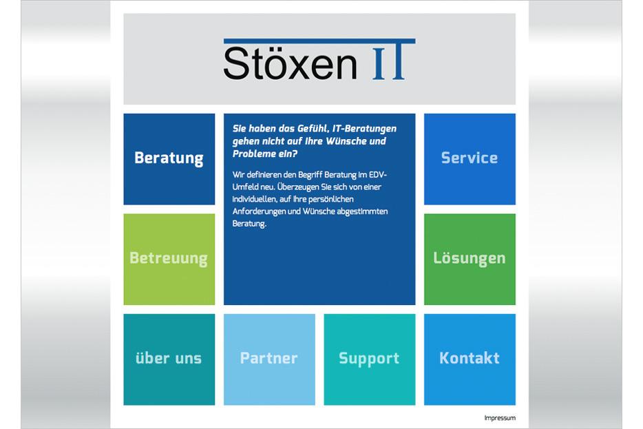 Desktop-Ansicht der Website von IT-Beratung und -Service Stöxen IT mobile Ansicht gestaltet von stefanie lombert : grafikdesign Hannover