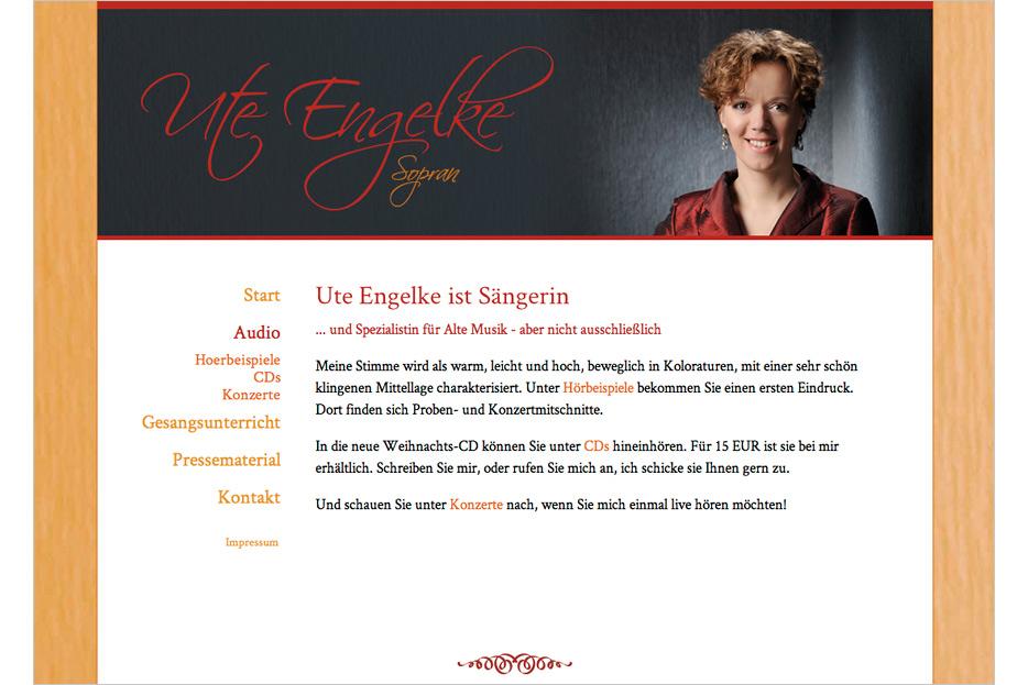 Website von Sängerin und Gesanglehrerin Ute Engelke gestaltet von stefanie lombert : grafikdesign Hannover