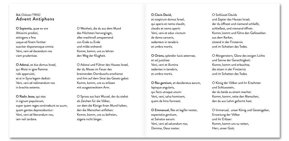 """CD-Booklet """"O Emmanuel"""" des Vokalensembles vox aeterna gestaltet von stefanie lombert : grafikdesign Hannover"""