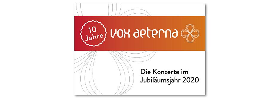 Titel des Konzerfolders 2020 des 16-stimmigen Vokalensembles vox aeterna aus Hannover, gestaltet von stefanie lombert : grafikdesign