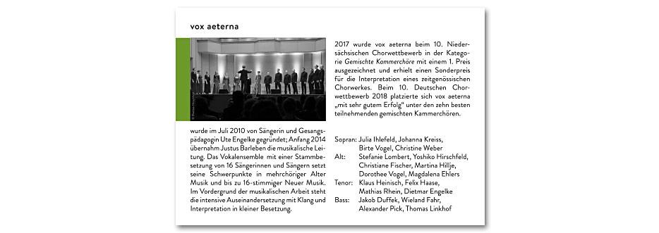 """Innenseite """"vox aeterna"""" des Konzerfolders 2020 des 16-stimmigen Vokalensembles vox aeterna aus Hannover, gestaltet von stefanie lombert : grafikdesign"""